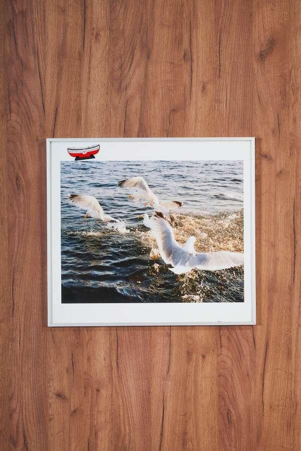 Su Üstünde Denizde Martılar Orta Boy Tablo