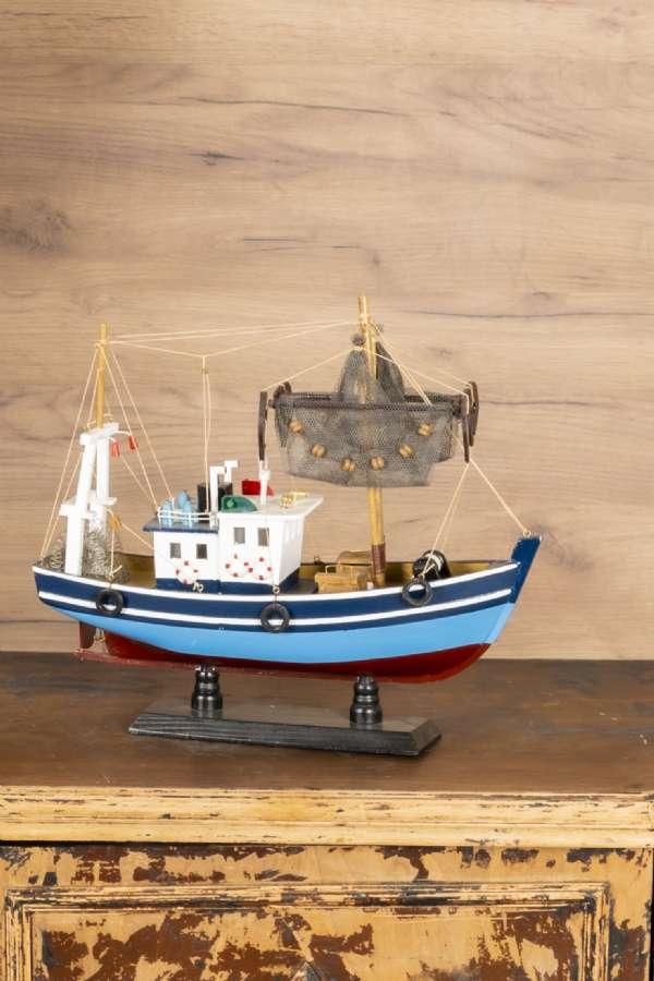 Ahşap Mavi Ağ Atan Balıkçı Gemisi Maketi