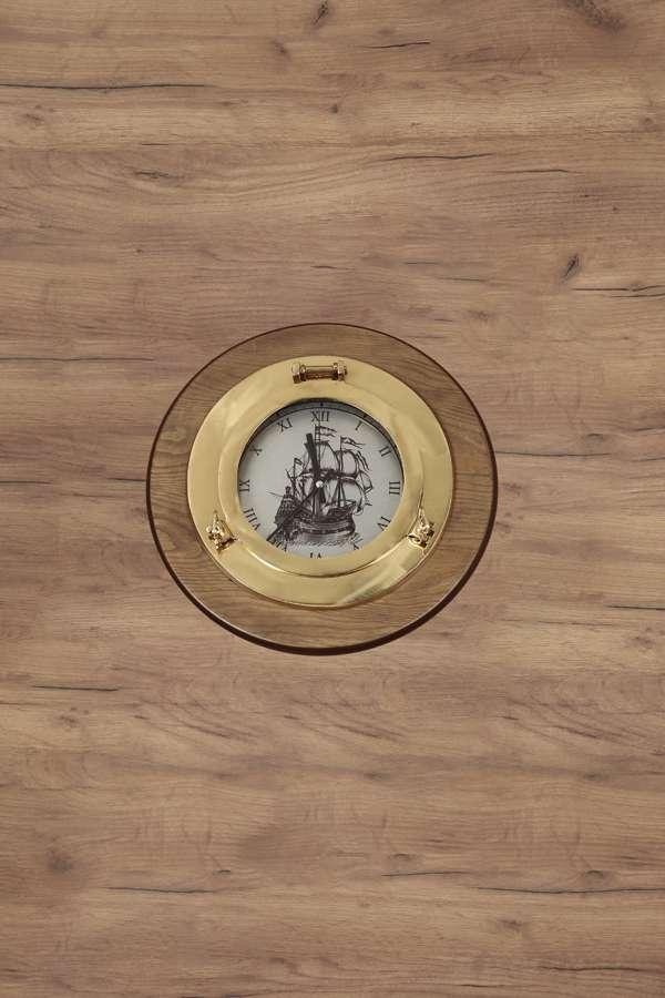 Pirinç Döküm Dekoratif Gemi Görselli El Yapımı Saat