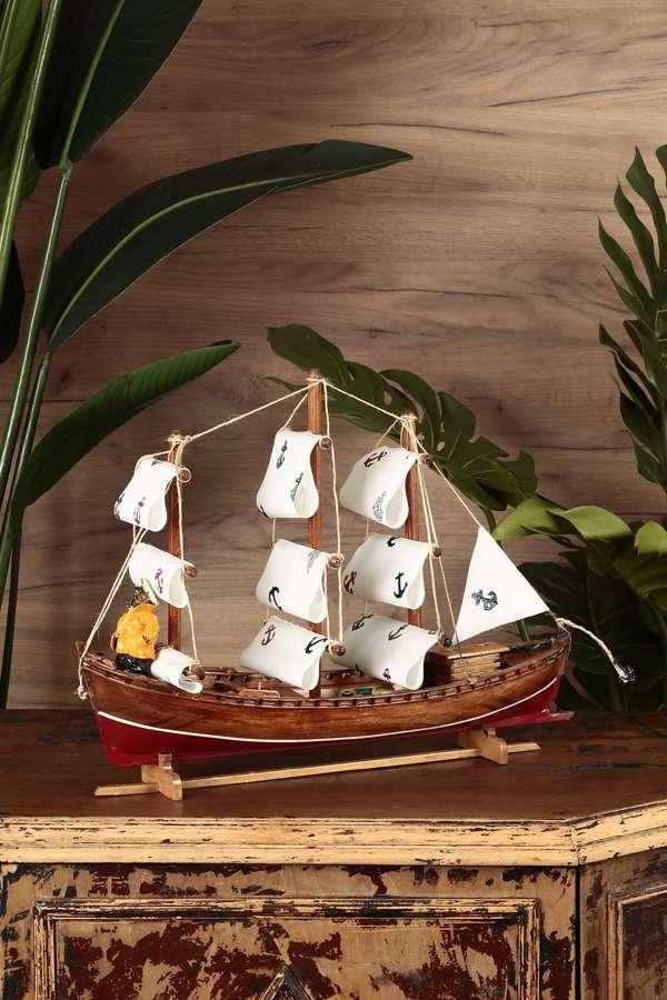 Çapa Figürlü Yelkenli Gemi Maketi